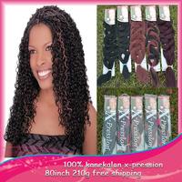 100pcs/lot 200-210g  kanekalon Hair  Free Shipping 82 inch  Synthetic Hair Extension  X-pression Ultra Braid  Bulk Hair