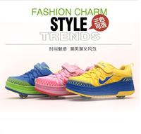 2014 AUTUMN Fashion Sneakers children PU leather two-wheel Shoes kids roller skates Eur 29-39