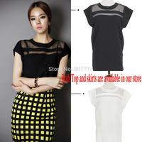 Exclusive M-XXL New Ladies Black Tulle Sheer Blouses Shirt Women's Tops Chiffon Blouse Short Hollow Out Blusas Femininas #T46001