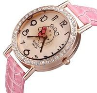 Fashion 2014 New Quartz Analog Watch,Relogio Rose Gold Crystal Rhinestone PU Leather Strap Watch, Hello Kitty Women Wristwatches