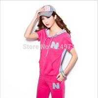 Hot Selling Women Sportswear Set Short sleeve Sweatershirt Hoodies  'N 'survetement women Casual sport suit 5 colors size M-XXL