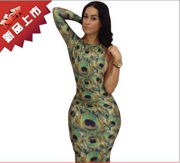 Grátis frete traje extravagante pavão novo 2014 mulheres verão NY14014 único manga pavão impresso vestido sem costas(China (Mainland))