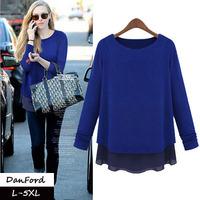 2014 New Brand Women's T Shirt Blue Plus Size Casual L XL XXL XXXL 4XL 5XLT Shirt for Women DFWB-007