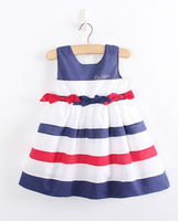 Free Shipping Newest Lovely Girl's Striped Dresses Children's Summer Dress Kids Princess Dress Party Wear Clothing Gift
