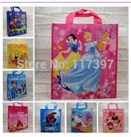 33*29*9CM Cute Cartoon Gift Promotional Shopping Bags Non Wave Fabric Reuseable Shopping Bag  12pcs/lot