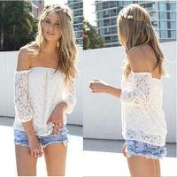 New 2014 Lace Blouses Shirt Women Off The Shoulder Long Sleeve Ladies Blusas Women Tops Sheer Floral Crochet white shirt nz182