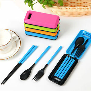 Kids's Gift Separable PVC Spoon Fork Chopsticks Plastic Cutlery Set Travel Camping Picnic Necessity Kit Portable Tableware(China (Mainland))