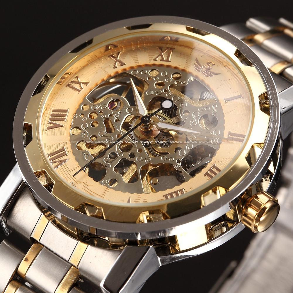 top marque mens pleine en acier main Éolienne montre classique montres steampunk squelette mécanique des hommes de mode montre en acier inoxydable