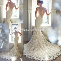 OUMEIYA ONW727 V Neck Beaded Custom Made Lace Fishtail Mermaid Wedding Dress 2015