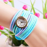 7 colors New Arrival Leather Bracelet Watches Fashion Leather Women Rhinestone Watch 1piece/lot BW-SB-725
