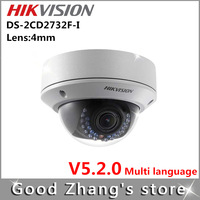 Free Shipping  Original genuine  Hikvision ip camera Fixed focus  3mp poe  DS-2CD2732F-I  lens 4mm