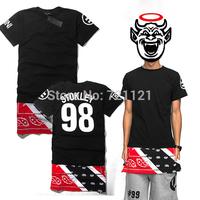 2014 Hip Hop Unisex Women Men Bandana Print CEASE DESIST Rhude Graphic T-Shirt Fashion Extended Tees Paisley Side Zip Size S-2XL
