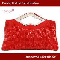 Metal mesh large shirred clutch - evening party bag - roomy handbag