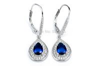GNE0960 Waterdrop style earrings Wholesale Free shipping 925 Sterling Silver CZ Earring 30.9*10.1mm Fashion Women Jewelry