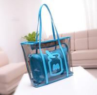free shipping 2014 Transparent tote bag women handbag beach bag LJF