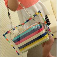 2014 women's fashion  pvc handbag beach bag candy color transparent bags big female bag