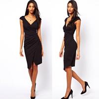 PerfectShow Hot New Sexy Deep V Neck Black Bodycon Waist Pleat Dress
