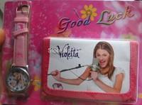 Drop shipping 1pcs 3D cartoons store Violetta kids watch fashion Wristwatch and wallet Violet