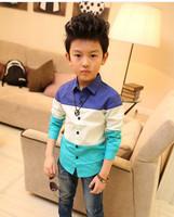2014Free Gift &Free Shipping2-7Age Boy  /Sping/Autumn/Summer Cotton full/longt Sleeve Shirt, Boy/Kid Causal Patwor Shirt/Blosue