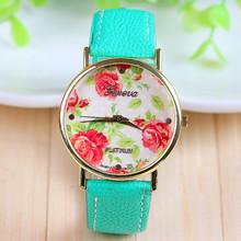 New Arrival Hot Selling Mint Green Leather Flower Watch Rose Geneva Watch Flower Women Dress Watch