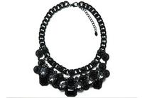 2014 Fashion High quality ZA Brand Necklace Fashion Vintage Black Necklaces & Pendants Crystal Choker Statement Necklace