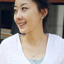 Simples pintura azul perseguição coração colar de prata banhado a fábrica de jóias direto Da Namorados(China (Mainland))
