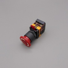 Mushroom head button switch ANE-22with light LED emergency stop button(Mounting hole 22 25mm)(DC 6/12/24/36/48 V AC110/220/380V)(China (Mainland))