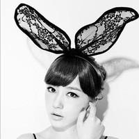 Free Shipping 12pcs/lot Lady Gaga Lace Rabbit Bunny Ears Hair Bands Headbands For Bridal Wedding Christmas Halloween Party A0016