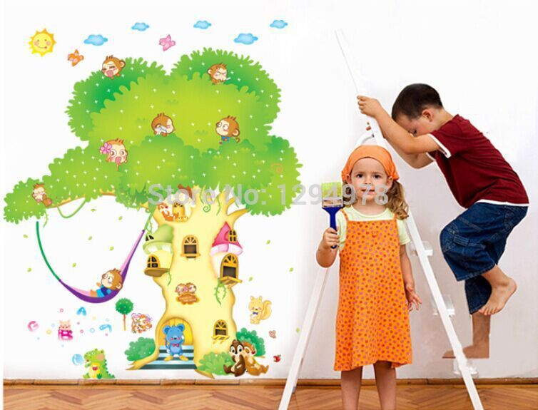Free Shipping DIY Wall Stickers Kids Bedroom Home Decor Mural Decal Cartoon Tree House Creative Monkey Animals(China (Mainland))