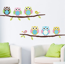 Free Shipping Cartoon Children's Room Bedroom Walls Painted Decorative Sticker Cute Owl Animal Wall Stickers Parlor Kids Bedroom(China (Mainland))