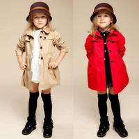 2014 London Fashion Designer Brand Classic European Trench Coat Khaki/Red Girl Coat, Girl's Clothing, Long Outwear