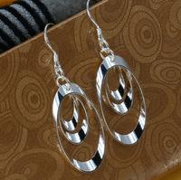 E180 Wholesale 925 sterling silver earrings, 925 sterling silver fashion jewelry, Triple Round Plate Earring for women Christmas