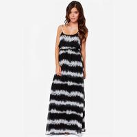 2014 NEW ARRIVAL Women Summer Black and White Patchwork Striped Long Maxi Dress Bohemian O-neck Sleeveless Dress