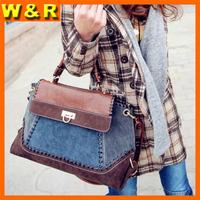 new arrival patchwork woman totes bags fashion casual bag vintage handbag messenger bag for lady ZCB8082