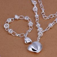 Promotion Hot Sale Peach Heart 925 Silver Jewelry Sets Wholesale Silver Heart Pendants Set Bracelet and Necklace Fashion Jewelry