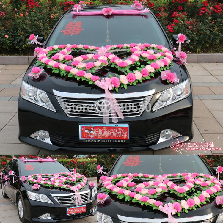 Free Shipping By EMSnew Stylewedding Car Decoration Set Heart LOVE Wedding Car Flower