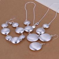 S019 925 Silver Jewelry Sets Earrings Necklace Bracelet  Set Wholesale Women's Silver Fashion Jewelry Set Free shipping S019