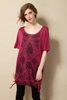 3XL-8XL Women Ethnic Print Diamond Blouse Plus Size Casual Tunic T-shirt Tee Top 4XL 5XL 6XL XXXXL XXXXXL XXXXXXL 2014 Summer