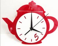 1set/lot free shipping acrylic DIY teapot wall clock Bar restaurant kitchen clocks decor decoration unique quartz fashion time
