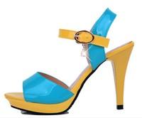 Sapatos Femininos Hot Sale Real Freeshipping Pu 35 Women Shoes 2014 Sandals Summer Hasp Open Toe Shoe Thin Heels Women's Shoes