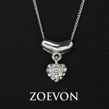 Romantic Style White Gold Plated Stellux Austrian Rhinestones Heart Shaped Pendant Necklace for Women  (JingJing GN063D)