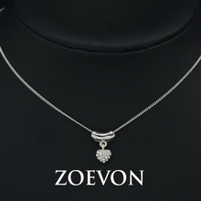 ZOEVON White Gold Plated Clear Crystal Rhinestones Heart Shaped Hanging Pendant Necklace Love Gift Jewelry GN063D
