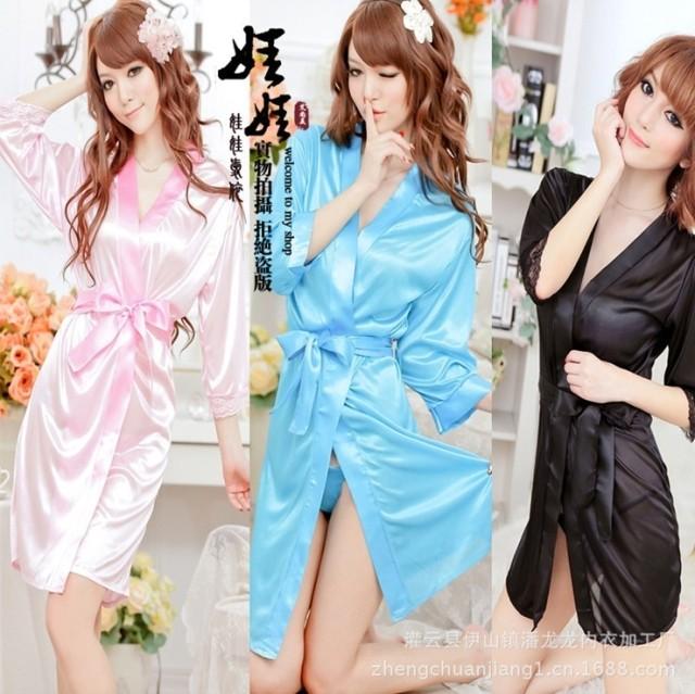 Sexy Lingerie Women Sleepwear Bath Robes Ladies Temptation Nightdress Rayon Silk Lace Nightwear With Thong Underwear(China (Mainland))