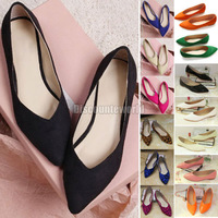 New Women Casual Pointed Toe Loafers Flats Ballet Ballerina Flat Shoes 14 Color Size 37 38 39 40 41