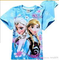 Frozen Kids T-Shirt 2014 Baby Girls Anna Elsa Princess Cartoon Short Sleeve Cotton T Shirt Top Summer Clothes 3-8Y 6065