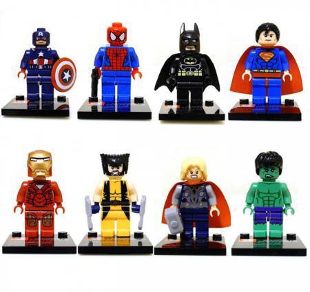 Versandkostenfrei 8pcs/lot 2014 neue Superhelden Serie Action& spielzeugfiguren Minifiguren blöcke diy gebäude spielzeug iq Übung zahlen