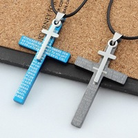 High Quality Men's Jewelry Black Blue Stainless Steel Bible Cross Pendant Necklace Chain items