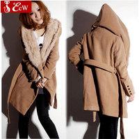Fashion women wool coat new style fashion winter causal Hooded jacket with belt casacos femininos 2015 autumn coat women
