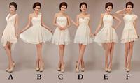 mix 6 style knee-length chiffon short bridesmaid dresses 2014 new fashion women formal party dresses (zipper back)