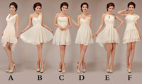 mix 6 style knee-length chiffon short bridesmaid dresses 2014 new fashion women formal party dresses (zipper back)